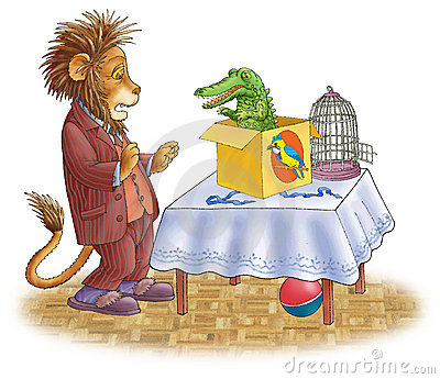 Lion frightened and the crocodile.