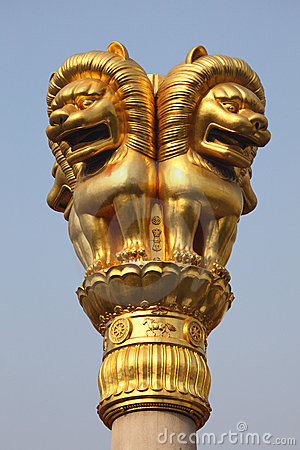Lion golden statue