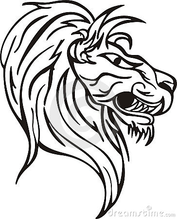 Simple lion head design. Vinyl-ready EPS Illustration, black and white