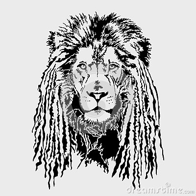 Lion Head With Dreadlocks - Editable Vector Graphic Stock ...