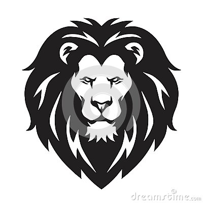 Lion Head Logo, Sign, Vector Black and White Design Vector Illustration