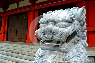 Lion head sculpture in Japan