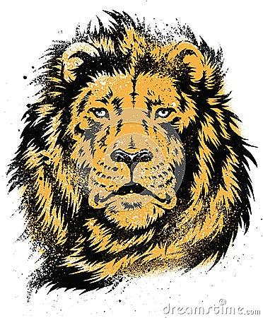 Lion Head Stencil Vector