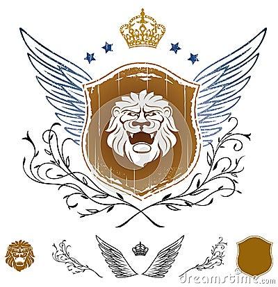 Lion Head Winged Insignia