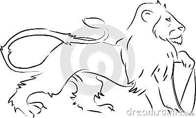 Lion holding shield heraldic