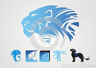 Lion icons in blue