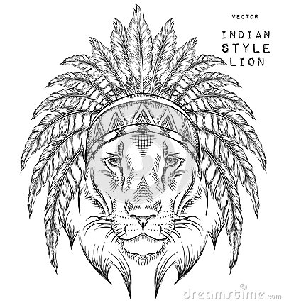 Lion In The Indian Roach Feather Headdress Of