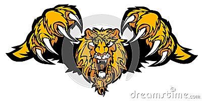 Lion Mascot Pouncing Vector Logo