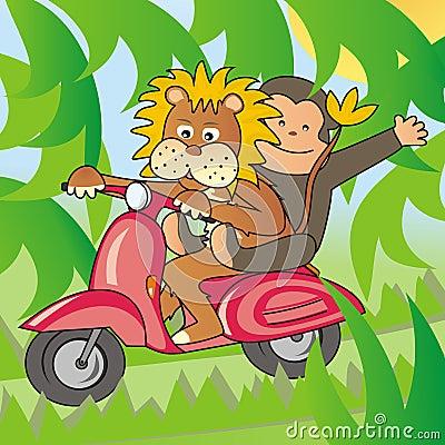 Lion and a monkey on a bike