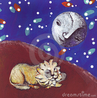 The lion and the moon in the fantastic desert