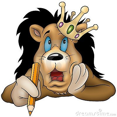 Lion with pencil