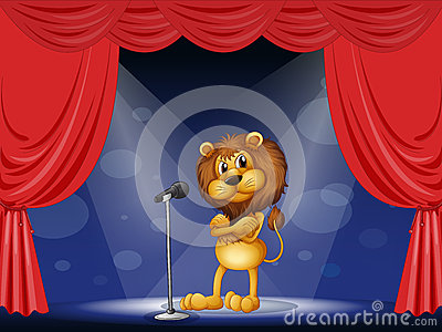 A lion performing on stage