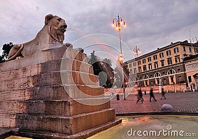 Lion on Piazza del Popolo, Rome
