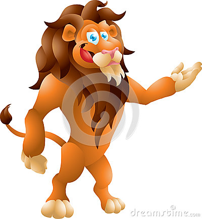 Lion presenting