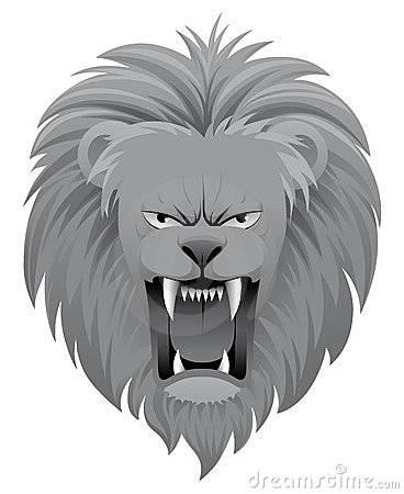 black and white lion roar