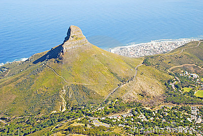 Lion s Head mountain and Cape Town, South Africa.