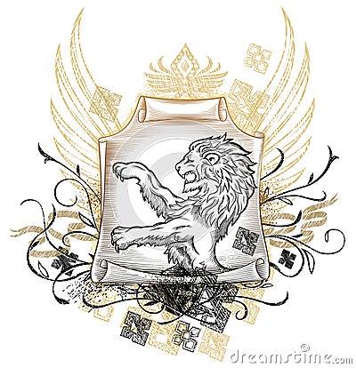 Lion on scroll Insignia