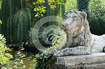 Lion sculpture in park area