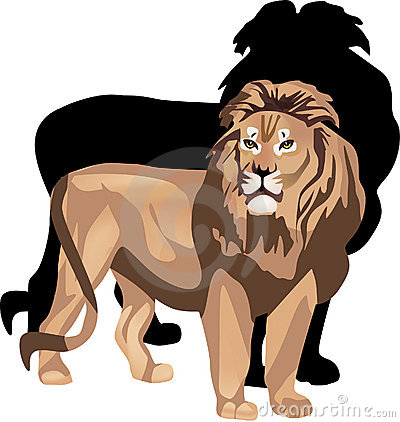 Lion and shadow illustration