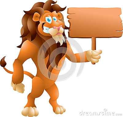 Lion with sign