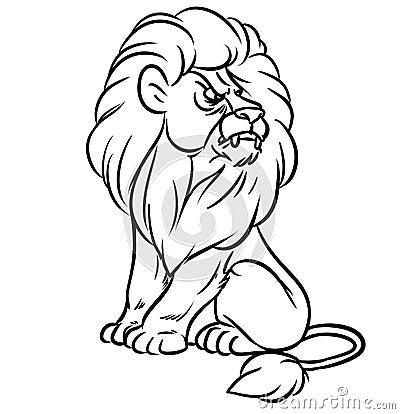 Lion sitting line