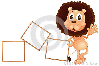 A lion standing beside the empty boards