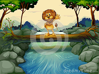A lion standing at the trunk above the flowing river