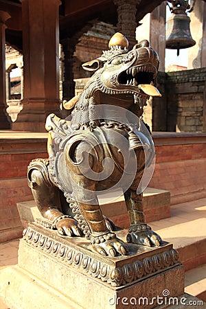 Free Lion Statue At Patan,Kathmandu. Stock Images - 35319014