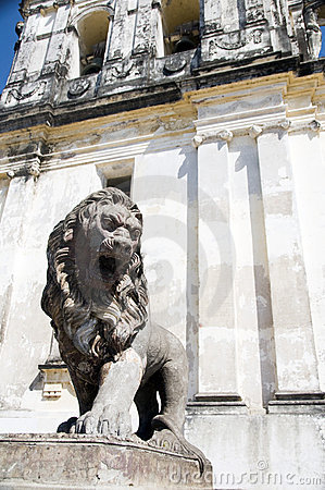 Lion statue Cathedral of Leon Nicaragua