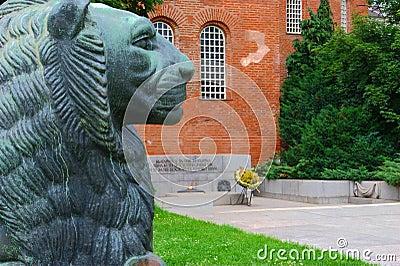 Lion statue at eternal fire
