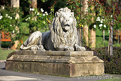 Lion statue guarding the rose gardens