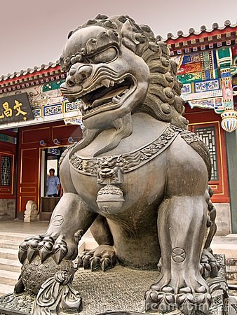 Lion statue inside the Summer Palace in Beijing