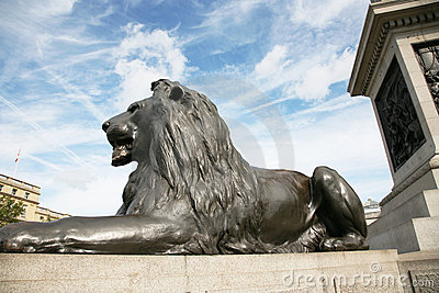 Lion statue  in Trafalgar Square