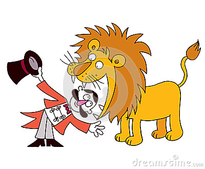 Image result for cartoon of a liontamer with his head in a lions mouth