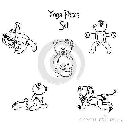 Lion teddy yoga black Vector Illustration