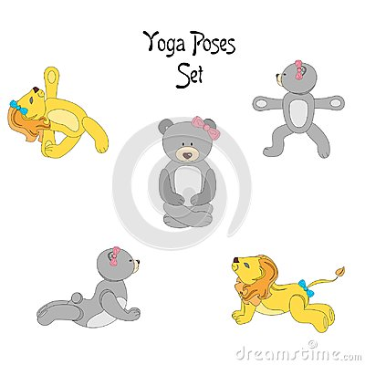 Lion teddy yoga Vector Illustration