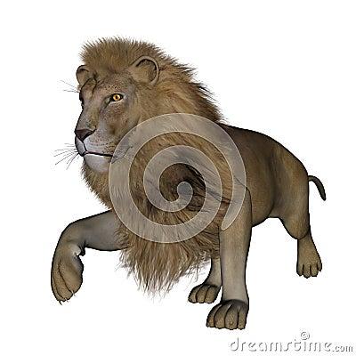 Lion walking - 3D render