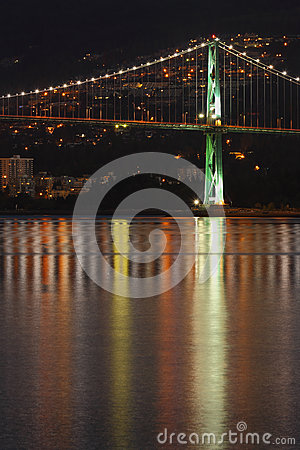 Lions Gate Bridge Night Reflection