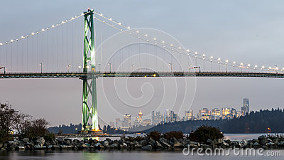 Lions Gate Bridge at sunset with Vancouver in the Background