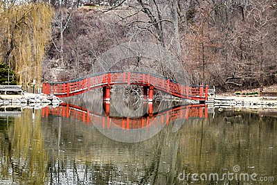 Lions Park Pond Bridge Reflection - Janesville, WI Stock Photo