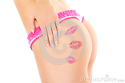 Lip stamps on buttocks