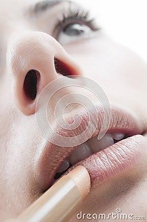 Lippen und Lippenstift