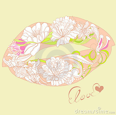 Lips with floral ornament