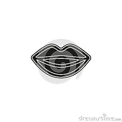 lips illustration - kiss icon, red lipstick - love icon Cartoon Illustration