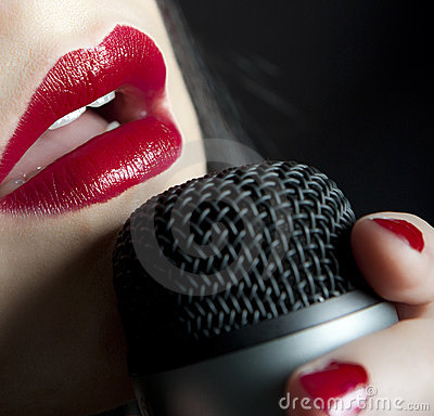 Free Lips Singing Music In Microphone Stock Photos - 7901193