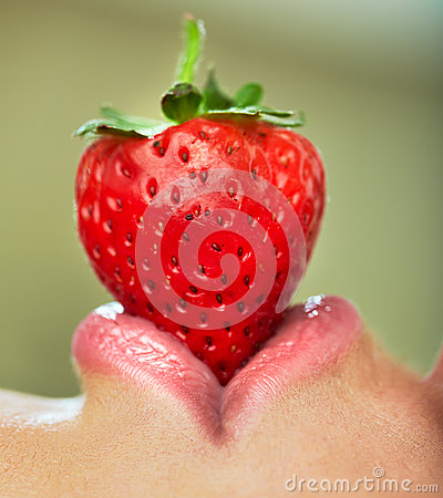 Free Lips With Strawberry. Stock Images - 44430084