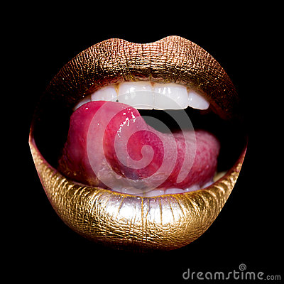 Free Lips With Tongue On Black Stock Image - 63226481