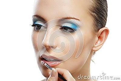 Lipstick beautiful young woman