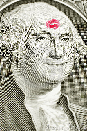 Lipstick kiss on one dollar bill
