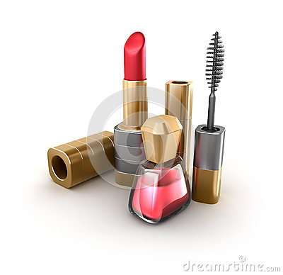 Lipstick, mascara, nail polish. Makeup items set.